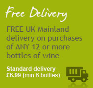 When buying wines we offer free delivery for 12 bottles of wine purchased, £6.99 for 6 bottles bought.